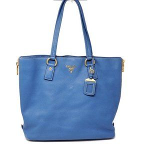 Auth Prada Large Blue Leather Tote Shoulder Bag